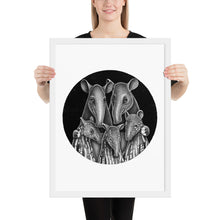 Load image into Gallery viewer, Tapir Family | Illustration | Framed Poster-framed posters-White-18×24-Eggenland