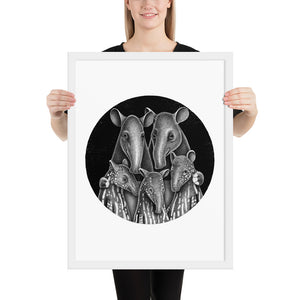 Tapir Family | Illustration | Framed Poster-framed posters-White-18×24-Eggenland