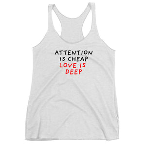 Attention is Cheap | Women's Racerback Tank-tank tops-Heather White-XS-Eggenland