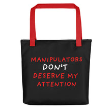 Load image into Gallery viewer, No Attention to Manipulators | Black | Tote Bag-tote bags-Red-Eggenland