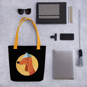 Dog with Paper Hat | Black | Tote Bag-tote bags-Eggenland