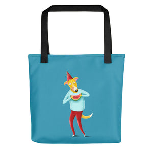 Dog with Watermelon | Blue | Tote Bag-tote bags-Black-Eggenland