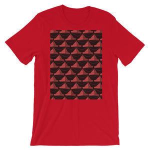 Paper Hats Pattern | Dark Red | Short-Sleeve Unisex T-Shirt-t-shirts-Red-S-Eggenland