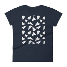 Load image into Gallery viewer, Paper Planes Pattern | Women's Short-Sleeve T-Shirt-t-shirts-Navy-S-Eggenland