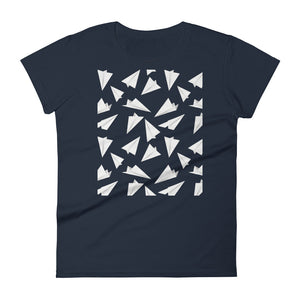 Paper Planes Pattern | Women's Short-Sleeve T-Shirt-t-shirts-Navy-S-Eggenland