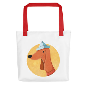 Dog with Paper Hat | White | Tote Bag-tote bags-Red-Eggenland