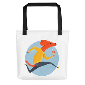 Dog with Ice Cream | White | Tote Bag-tote bags-Black-Eggenland