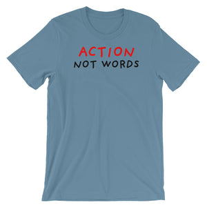 Action Not Words | Short-Sleeve Unisex T-Shirt-t-shirts-Steel Blue-S-Eggenland