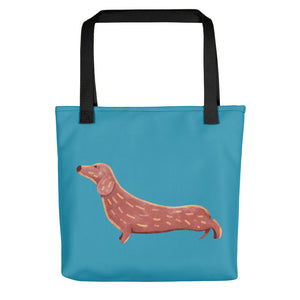 Cute Dachshund Dog | Blue | Tote Bag-tote bags-Black-Eggenland
