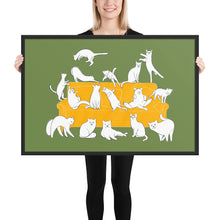 Load image into Gallery viewer, Cats Party | Illustration | Green | Framed Poster-framed posters-Black-24×36-Eggenland