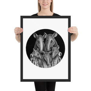 Tapir Family | Illustration | Framed Poster-framed posters-Black-18×24-Eggenland
