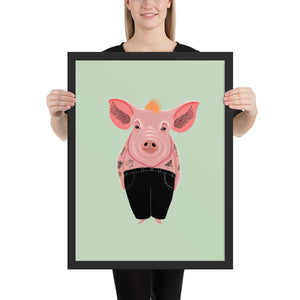 Cool Pig With Tattoos | Illustration | Green | Framed Posters-framed posters-Black-18×24-Eggenland