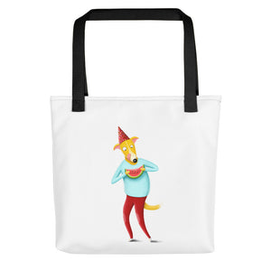 Dog with Watermelon | White | Tote Bag-tote bags-Black-Eggenland