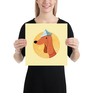 Dog with Newspaper Hat | Yellow | Poster-posters-12×12-Eggenland