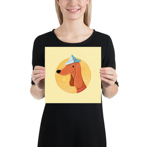 Dog with Newspaper Hat | Yellow | Poster-posters-10×10-Eggenland