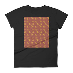 Flying Birds Pattern | Red | Women's Short-Sleeve T-Shirt-t-shirts-Black-S-Eggenland