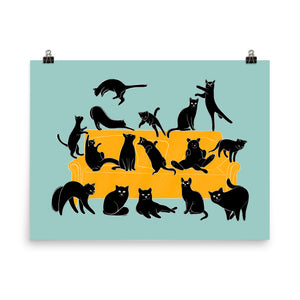 Black Cats Party | Blue | Illustration | Poster-posters-Eggenland