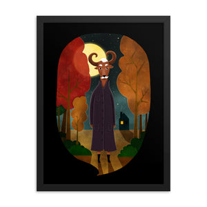 Deer Creature At Night | Illustration | Black | Framed Poster-framed posters-Eggenland