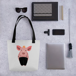 Cool Pig with Tattoos | Light Grey | Tote Bag-tote bags-Eggenland