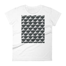 Load image into Gallery viewer, Paper Hats Pattern | Black and White | Women's Short-Sleeve T-Shirt-t-shirts-White-S-Eggenland