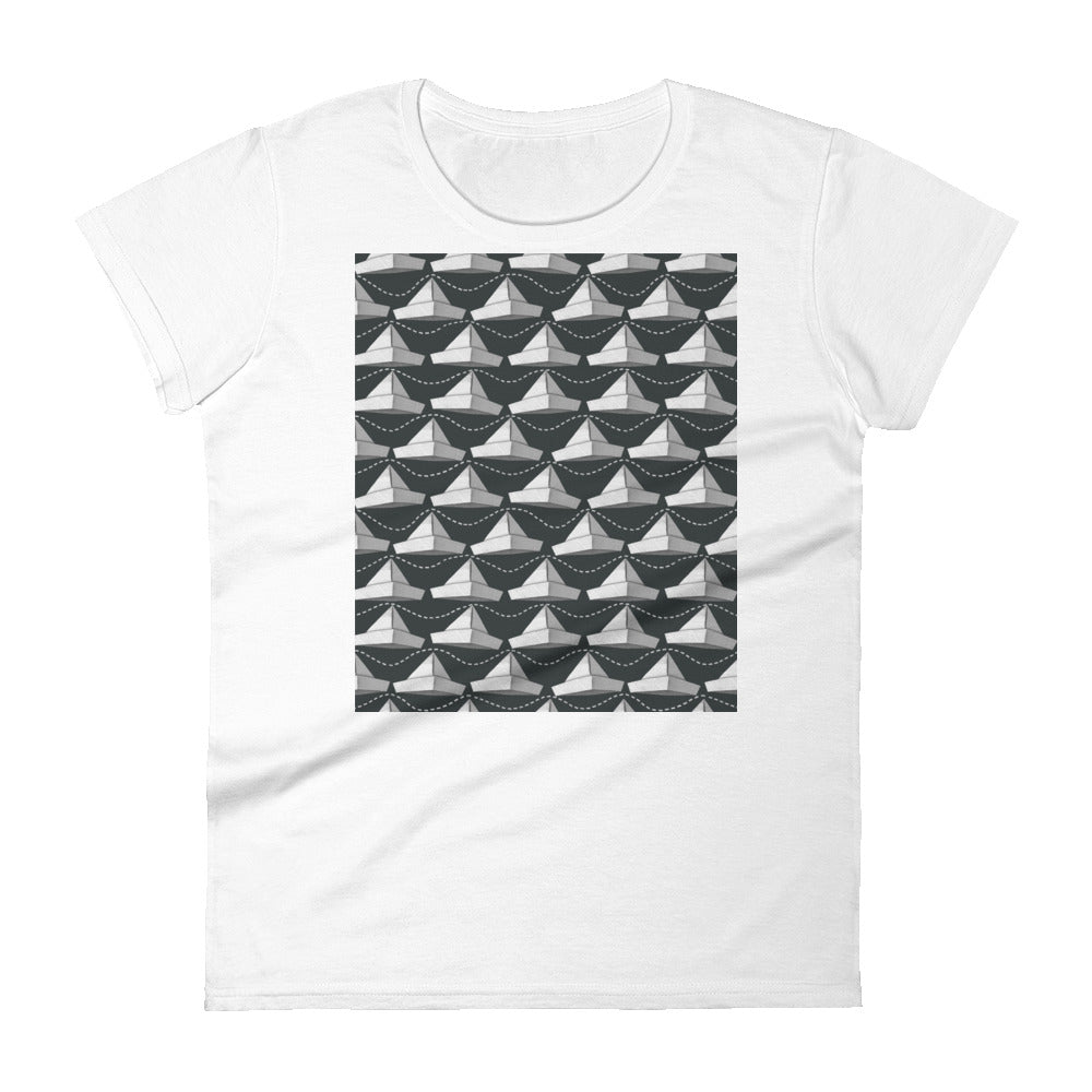 Paper Hats Pattern | Black and White | Women's Short-Sleeve T-Shirt-t-shirts-White-S-Eggenland