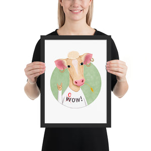 Wow Cow | Illustration | Framed Poster-framed posters-Black-12×16-Eggenland
