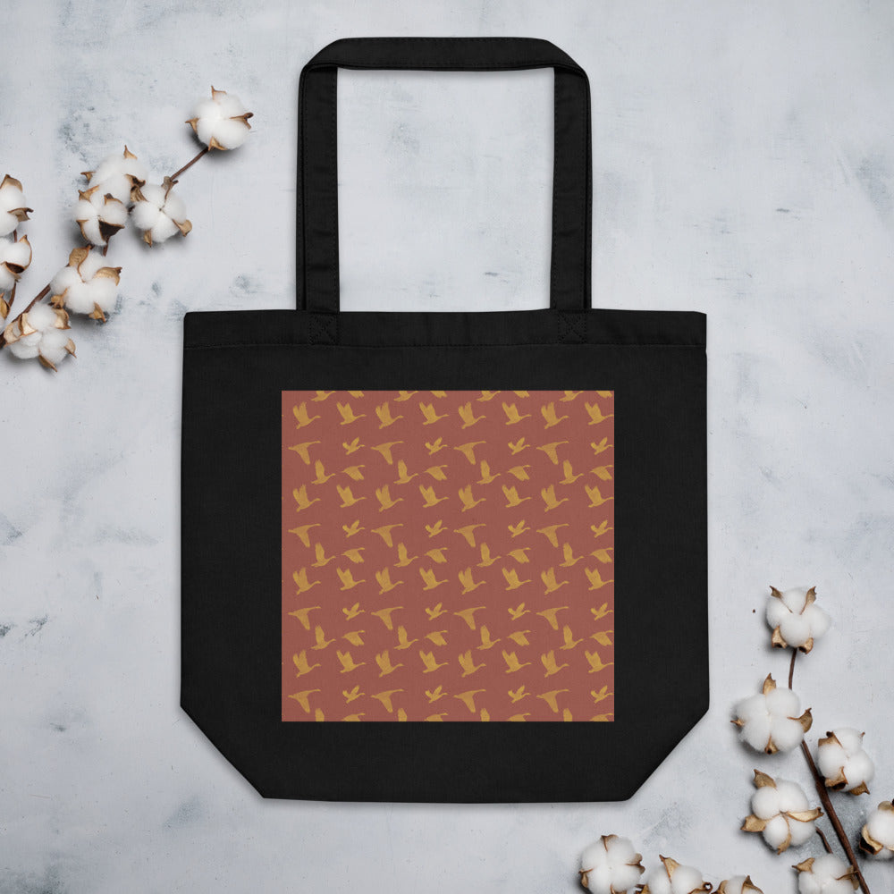 Flying Birds Pattern | Red | Eco Tote Bag-tote bags-Black-Eggenland