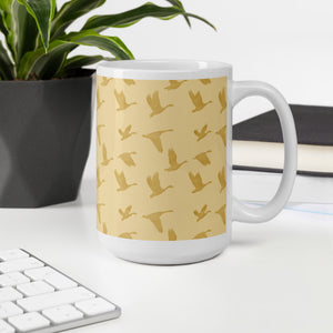Flying Birds Pattern | Golden Mood | Mug-mugs-Eggenland