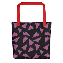 Load image into Gallery viewer, Paper Planes Pattern | Black and Pink | Tote Bag-tote bags-Red-Eggenland