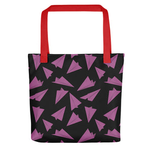 Paper Planes Pattern | Black and Pink | Tote Bag-tote bags-Red-Eggenland