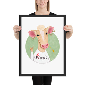 Wow Cow | Illustration | Framed Poster-framed posters-Black-18×24-Eggenland
