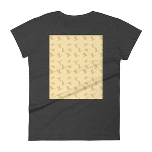 Flying Birds Pattern | Yellow | Women's Short-Sleeve T-Shirt-t-shirts-Heather Dark Grey-S-Eggenland