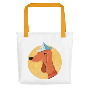Dog with Paper Hat | White | Tote Bag-tote bags-Yellow-Eggenland