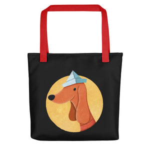 Dog with Paper Hat | Black | Tote Bag-tote bags-Red-Eggenland