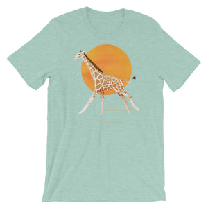 Giraffe and Sun | Short-Sleeve Unisex T-Shirt-t-shirts-Heather Prism Dusty Blue-S-Eggenland