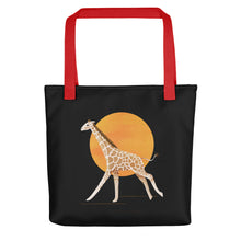 Load image into Gallery viewer, Giraffe and Sun | Black | Tote Bag-tote bags-Red-Eggenland