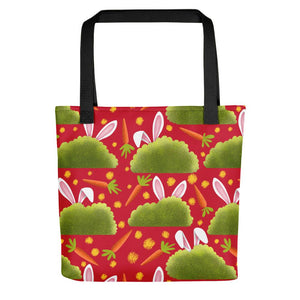 Rabbits and Carrots | Red | Tote Bag-tote bags-Black-Eggenland