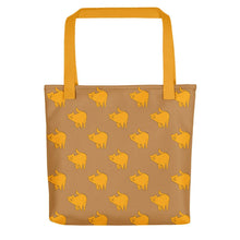 Load image into Gallery viewer, Yellow Cat Pattern | Light Brown | Tote Bag-tote bags-Yellow-Eggenland