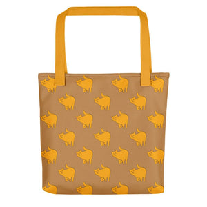 Yellow Cat Pattern | Light Brown | Tote Bag-tote bags-Yellow-Eggenland