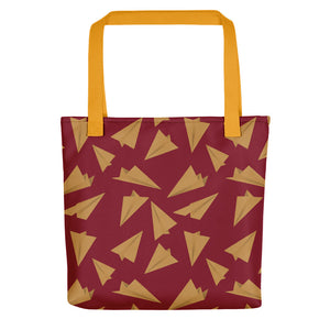 Paper Planes Pattern | Red and Golden | Tote Bag-tote bags-Yellow-Eggenland