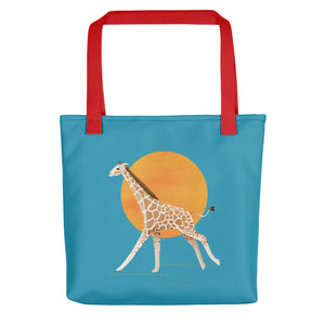 Giraffe and Sun | Blue | Tote Bag-tote bags-Red-Eggenland