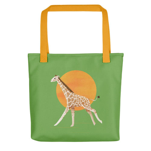 Giraffe and Sun | Green | Tote Bag-tote bags-Yellow-Eggenland