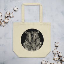 Load image into Gallery viewer, Tapir Family | Black and White Illustration | Eco Tote Bag-tote bags-Eggenland