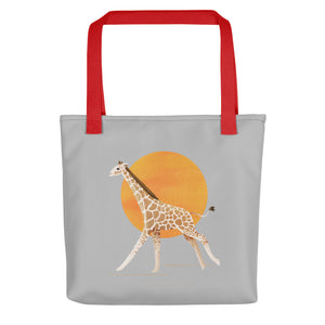 Giraffe and Sun | Light Grey | Tote Bag-tote bags-Red-Eggenland