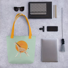 Load image into Gallery viewer, Giraffe and Sun | Light Green | Tote Bag-tote bags-Eggenland