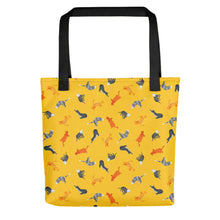 Load image into Gallery viewer, Funky Cats Pattern | Yellow | Tote Bag-tote bags-Black-Eggenland