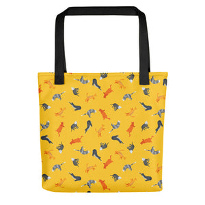 Funky Cats Pattern | Yellow | Tote Bag-tote bags-Black-Eggenland