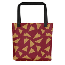 Load image into Gallery viewer, Paper Planes Pattern | Red and Golden | Tote Bag-tote bags-Black-Eggenland
