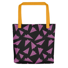Load image into Gallery viewer, Paper Planes Pattern | Black and Pink | Tote Bag-tote bags-Yellow-Eggenland