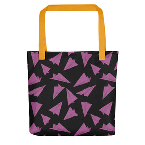 Paper Planes Pattern | Black and Pink | Tote Bag-tote bags-Yellow-Eggenland